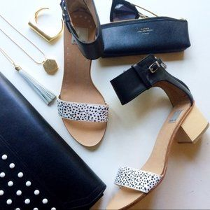 Spotted Calf Hair Wooden Block Heel Sandals